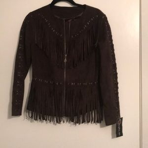 Women's faux suede fringe jacket